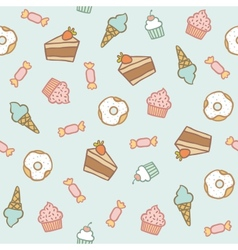 Sweet pattern cakes cupcakes candies donuts ice vector