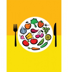 vegetables on plate vector image
