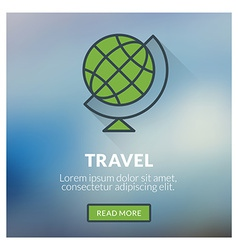 Flat design concept for travel with blurred vector