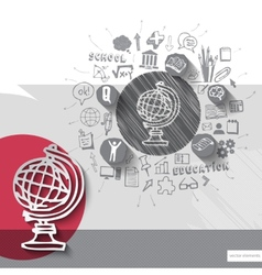 Paper and hand drawn earth globe emblem with icons vector