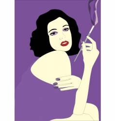 Vintage smoking girl vector