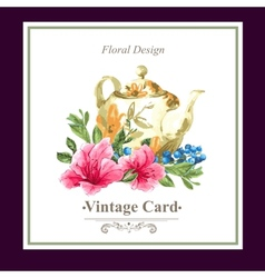 Vintage floral card with roses and wild flowers vector