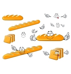 Long loaf baguette and toast bread characters vector