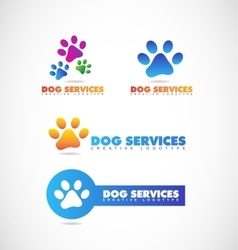 Dog paw pet shop logo vector