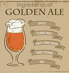 vintage of card with recipe of golden ale vector image