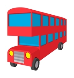 London double decker red bus icon cartoon style vector