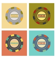Assembly flat icons single poker chips vector