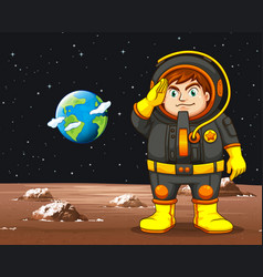 Astronaut in black spacesuit standing on planet vector