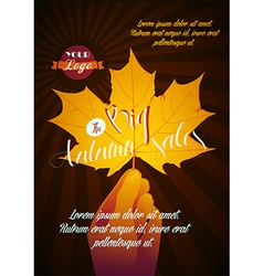 autumn poster with sale vector image vector image