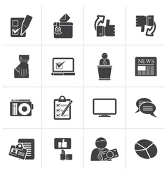 Black Voting and elections icons vector image vector image
