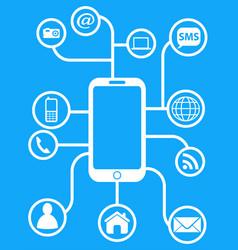 Blue smart phone network background vector