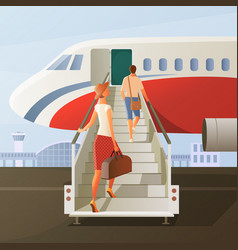 boarding in airplane composition vector image