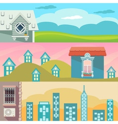 Cartoon landscape with houses windows clouds and vector image