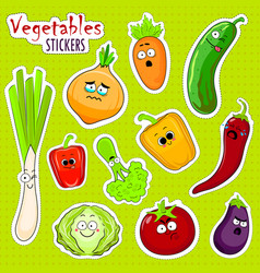Cartoon vegetable cute characters face stickers vector