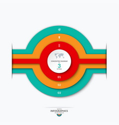 Concentric circles diagram for infographics vector