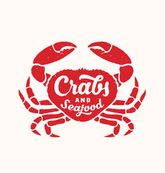 crabs and seafood abstract sign emblem vector image