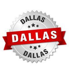 Dallas round silver badge with red ribbon vector