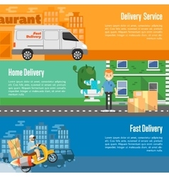 Delivery service horizontal banners set vector