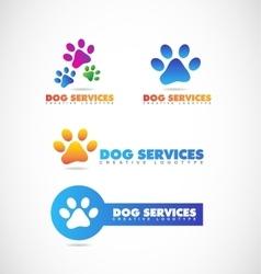 Dog paw pet shop logo vector