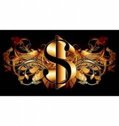 dollar with ornate elements vector image