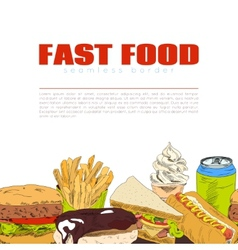 Fast food infographic seamless border banner vector image vector image