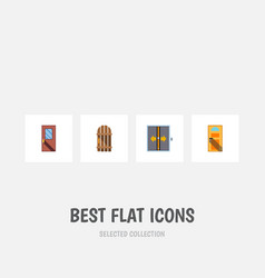 Flat icon approach set of exit door lobby and vector