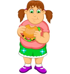 Funny fat woman cartoon eating burger vector