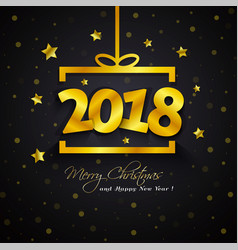 Golden gift box 2018 new year vector