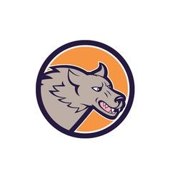 Grey wolf head angry circle cartoon vector