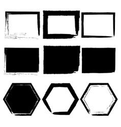 Grunge frames set black isolated on white vector