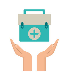 hands with kit first aid design vector image