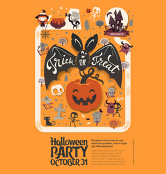 holiday happy halloween flyer template with funny vector image vector image