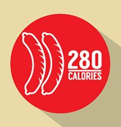 Hot dog 280 calories symbol vector