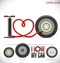 I Love My Car vector image