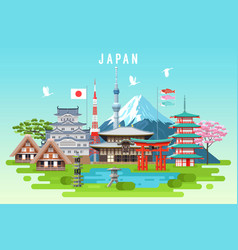 japan travel infographic vector image vector image