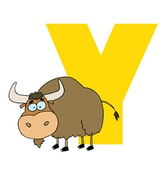 Letter Y With A Yak vector image