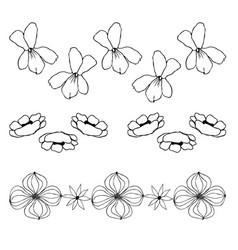 lines of flowers liner vector image