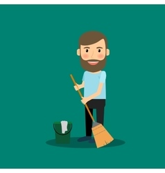 Man washing the floor vector