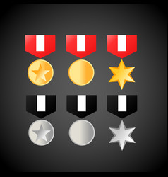 Military medals golden and silver medal icons vector