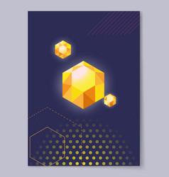 precious crystal polygon shape vector image