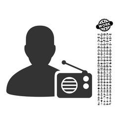 Radio dictor icon with people bonus vector