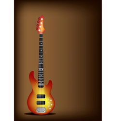 Red electric guitar on dark brown background vector