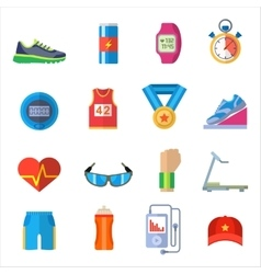 Run sport accessory icons set vector