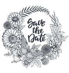 save the date card with hand drawn flowers leaves vector image vector image