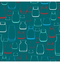 Seamless pattern with silhouette jars vector image vector image