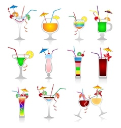 Set of cocktails on white background vector image