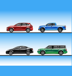 set of various raffic vehicles vector image