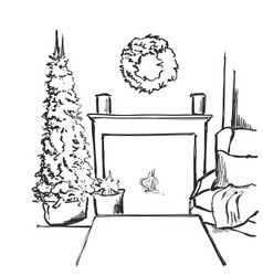 Sketch interior with christmas vector