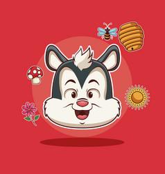skunk cartoon head vector image