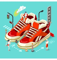 Sneakers shop people isometric vector